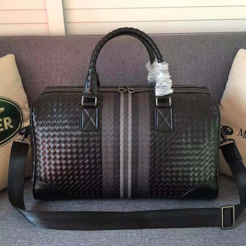 Kaisiludi leather men s bag embroidery woven handbag shopping large capacity travel fitness bag mommy bag