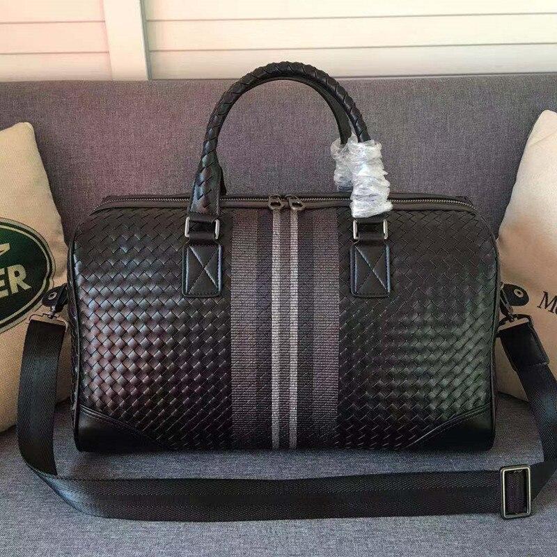 Kaisiludi Leather Men's Bag Embroidery Woven Handbag Shopping Large Capacity Travel  Fitness Bag Mommy Bag
