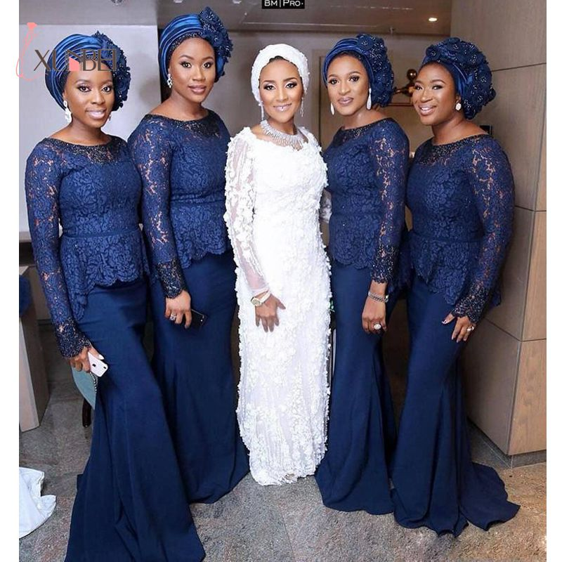 African Dubai Mermaid Navy Blue Lace Bridesmaid Dresses 2019 Long Sleeves Satin Wedding Guest Dress Arabic Maid Of Honor Gown(China)