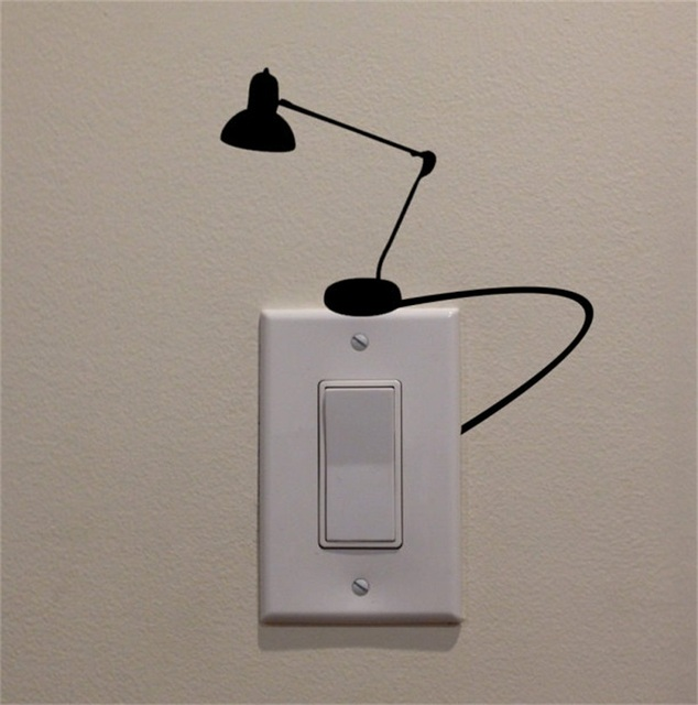 YINGKAI Small Antique Desk Lamp Powered From Light Switch Vinyl Wall Decal  Sticker for Kids Room Living Room Home Decoration - YINGKAI Small Antique Desk Lamp Powered From Light Switch Vinyl Wall