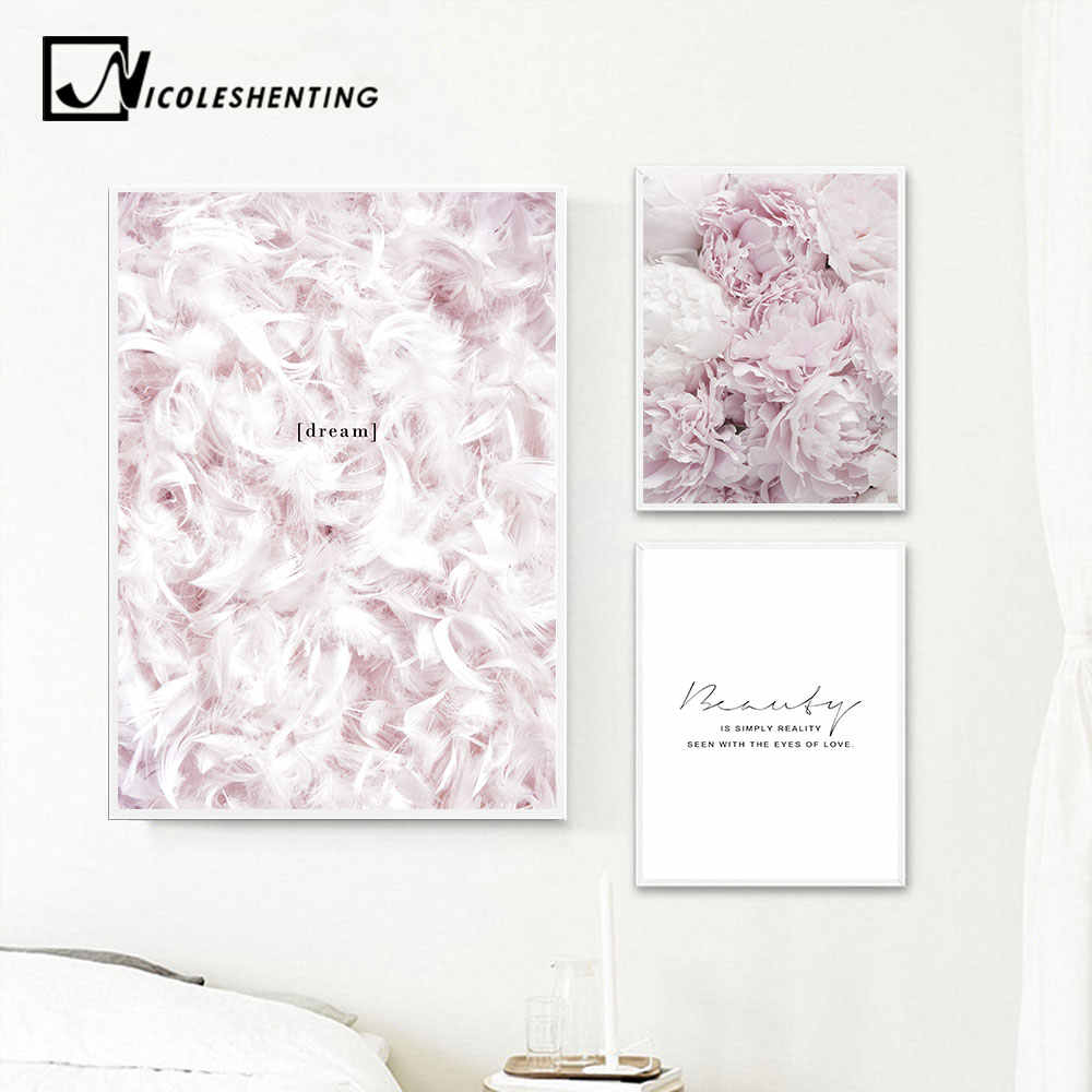 Scandinavian Style Pink Flower Feather Canvas Posters and Prints Wall Art Painting Nordic Decoration Pictures Modern Home Decor