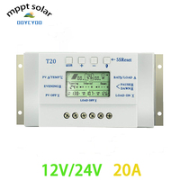 OOYCYOO MPPT T20A Solar Panel Controller 12 V 24 V Controller Solar dual function timer PV LED lighting system