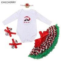 Santa Claus Christmas Costume Baby Girl Clothes Bodysuit Headband Lace Skirt Shoes Newborn Tutu Sets Clothing
