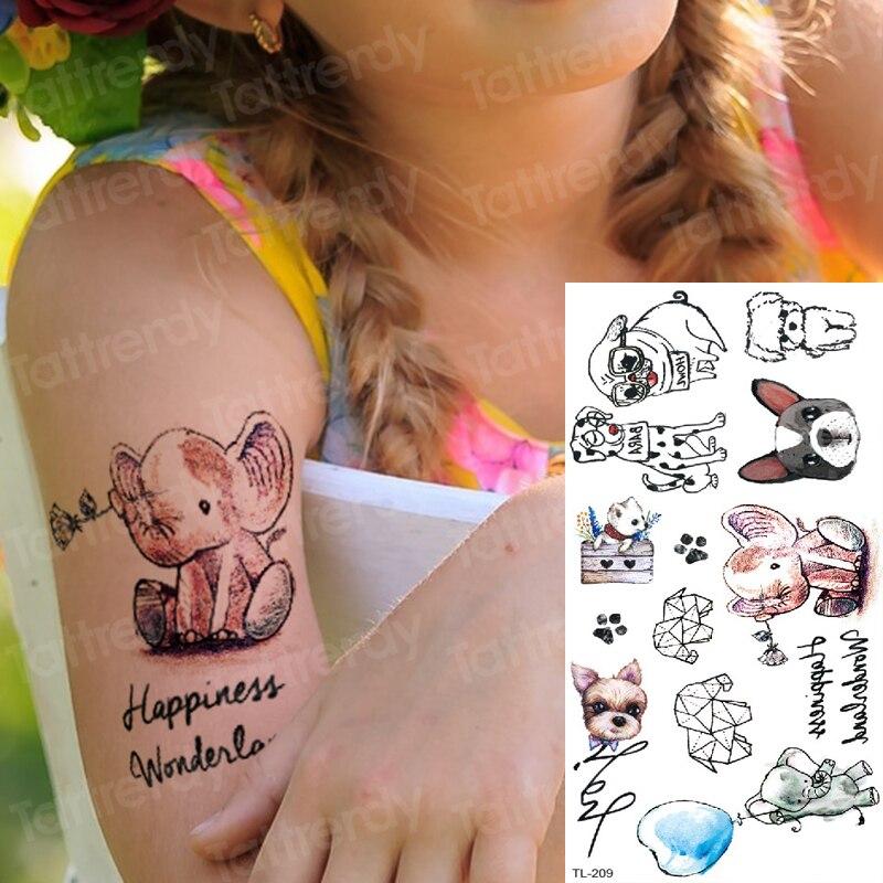 Kids Tattoo Temporary Tattoos On The Body Tatoo Women Fake Tattoo Animals Elephant Dog Small Tattoos Hand Wrist Summer Tatoos