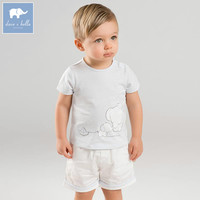 DBZ7724 Dave Bella Summer Baby Boys Blue Elephant Clothing Sets Children Infant Toddler Suit Kids Boutique