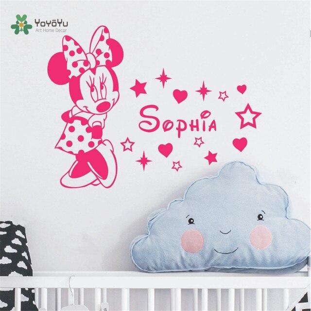 Nette Minnie Maus Mit Personifizierte Baby Name Vinyl Wand Aufkleber Für  Baby Kinder Schlafzimmer Süße Decor