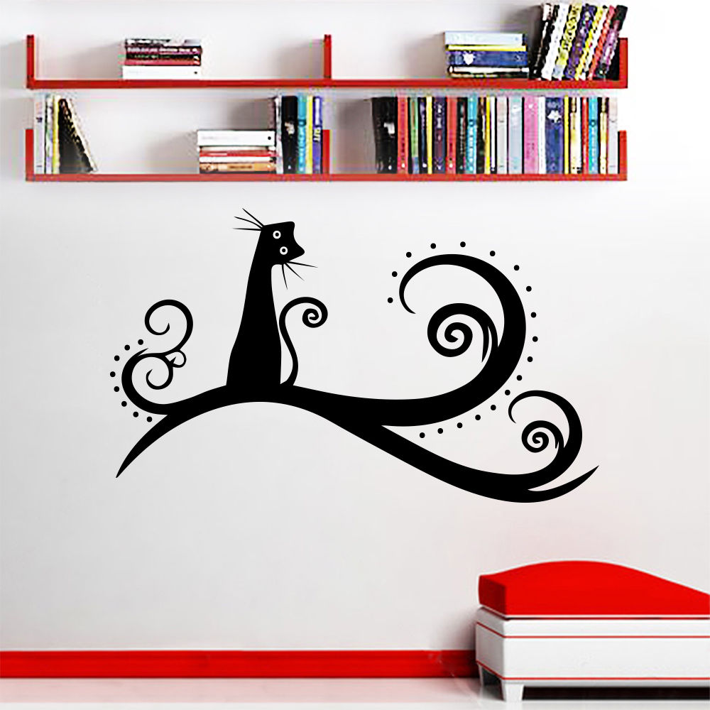 ac68db32147 Wall Vinyl Sticker Cat Animal Tree Wall Decal Nursery Bedroom Decor Cute  Cat Kids Room Wall Art Mural Removable Cat Decal AY537