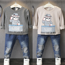 Children put the boy han edition long-sleeved round collar T-shirt unlined upper garment render leisure coat O A488