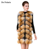 Real Fur Vest Red Fur Vest With Side Zipper Genuine Leather 80cm New Design Fox Fur Gilet for Ladies in Winter DHL