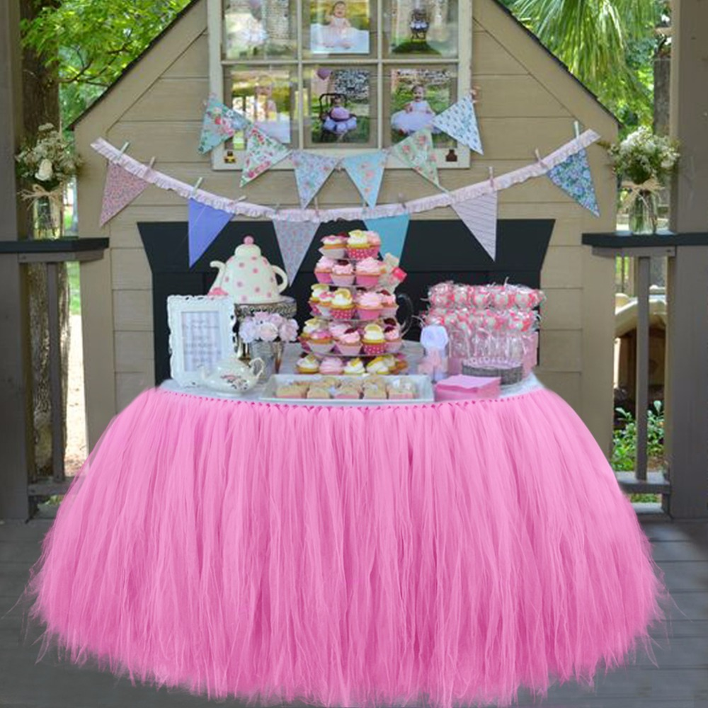 Baby Shower Table Decorations 100*80CM Tulle Table Skirt Wedding Table  Skirt Birthday Party Table Cloth High Quality 6Colors In Table Skirts From  Home ...
