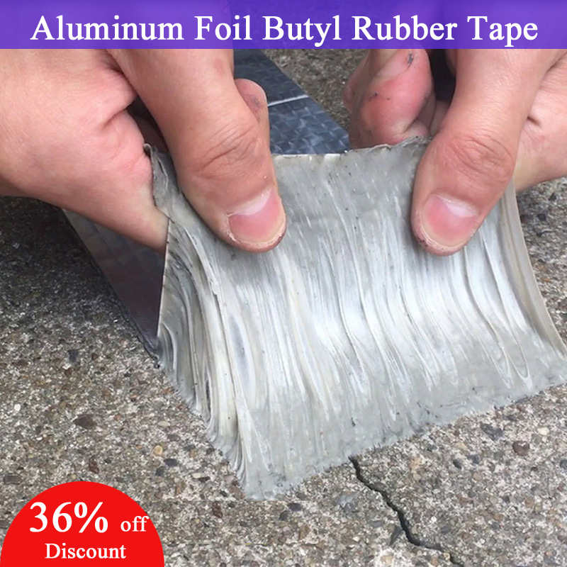 Aluminum Foil Butyl Rubber Tape Self Adhesive Waterproof UV Resistant Tapes For Wall Window Roof Pipe Floor Marine Repair