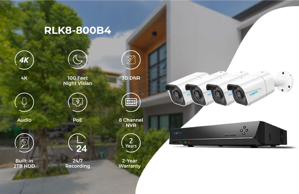 Reolink RLK8-800B4 4K Security Camera System 8ch PoE Video Recorder 4pcs 8MP PoE Cameras 24/7 Recording for Smart Home Security