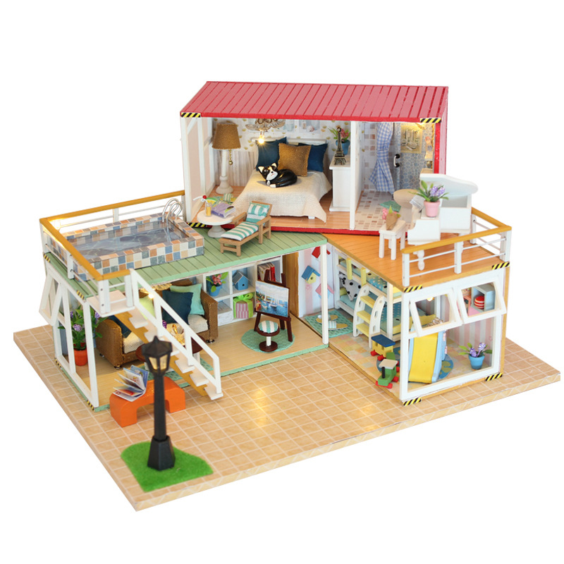 DIY DollHouse Container Home Miniature With Furnitures LED Light Building Model Wooden Doll House Toys Gift YOUR NAME 13841A #E