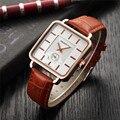 Кварцевые женские часы REBIRTH  с кожаным ремешком и квадратным ремешком