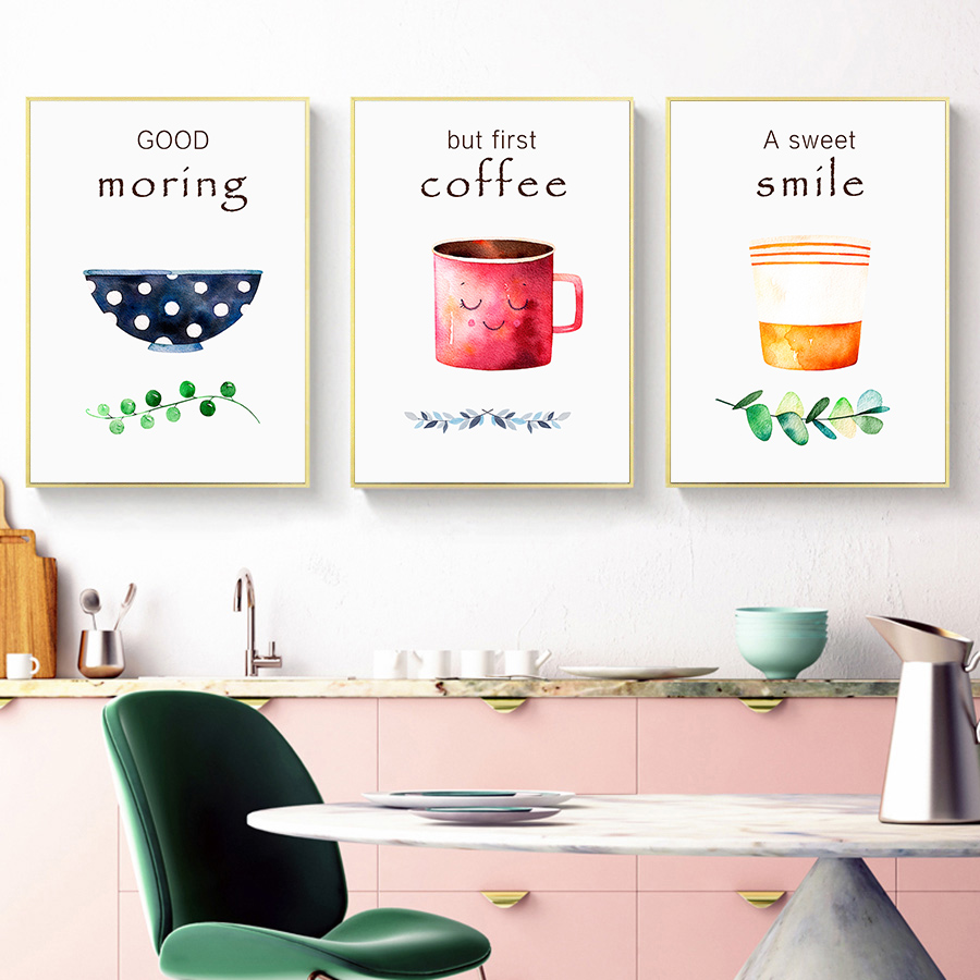 Kichen Cofe Wall Art Posters And Prints Coffee Canvas Art Paintings Nordic Dining Room Wall Pictures For Home Decoration Poster
