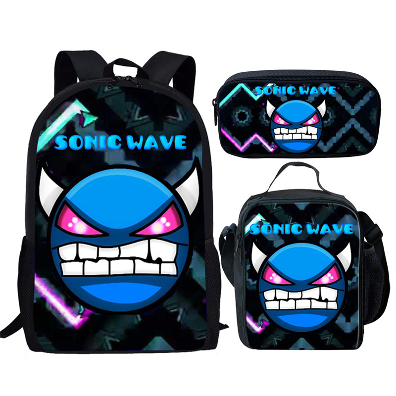 THIKIN Geometry Dash Printing Schoolbag 3pcs/set Cartoon Children School Bags For Girls Kids Backpack Child Bookbag For Student