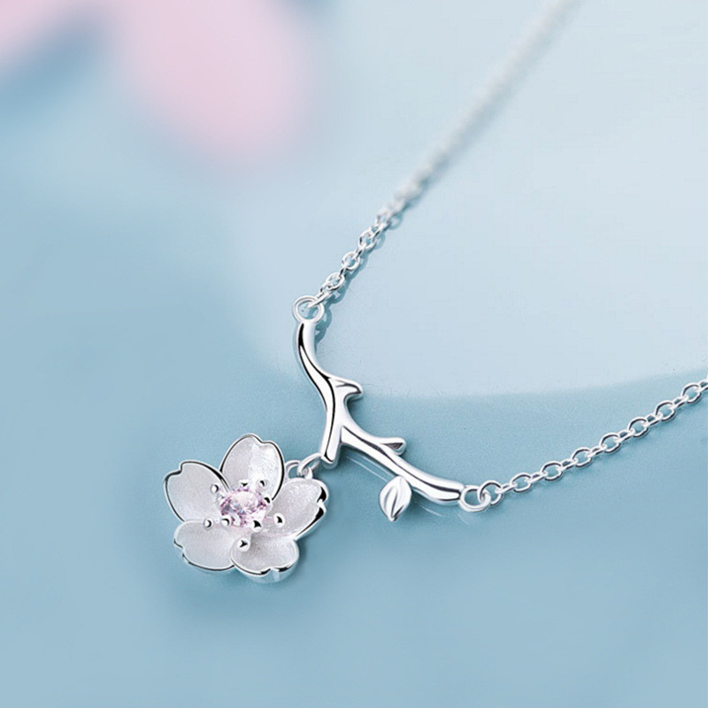 925 sterling silver Pendant necklace Lovely cherry blossom Women 39 s fashion jewelry wholesale in Pendant Necklaces from Jewelry amp Accessories
