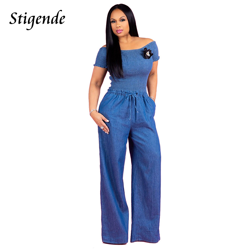 Stigende Women Casual Slash Neck Denim   Jumpsuit   Short Sleeve Bodycon Wide Leg Rompers Drawstring One Piece   Jumpsuit   Overalls