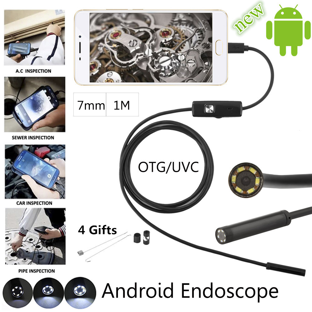 JCWHCAM 7mm 1M Android USB Endoscope Camera Snake USB Pipe Inspection Andorid Mobile OTG USB Borescope Camera wifi 4 9mm lens ear nose medical usb endoscope borescope inspection otoscope camera for ios android pc