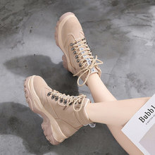 Booties female 2018 autumn and winter new wild Korean version of the platform women's shoes British wind Martin boots winter.