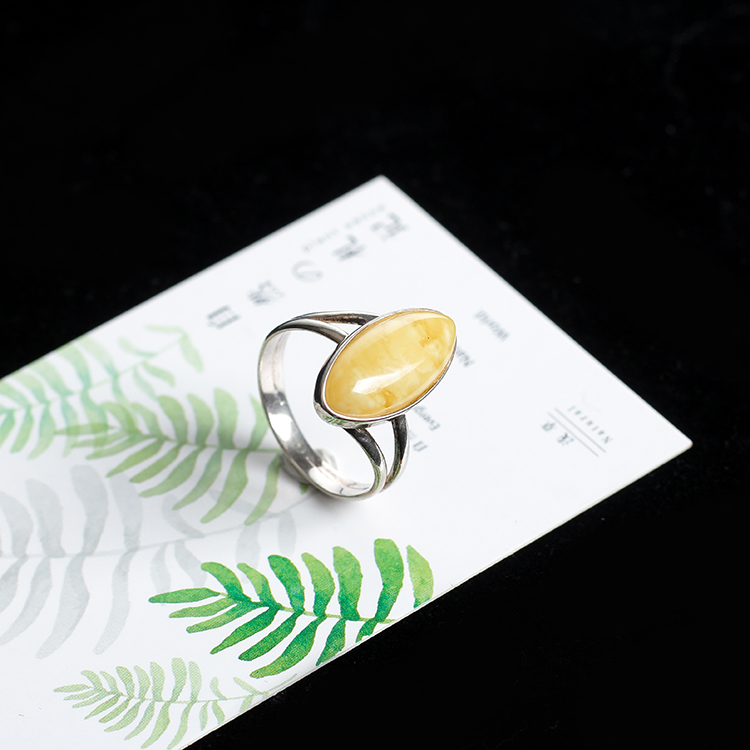 Genuine luxury JIUDUO Sterling silver natural ore Baltic amber beeswax Rings antique jewelry Europe and the United States back in Rings from Jewelry Accessories