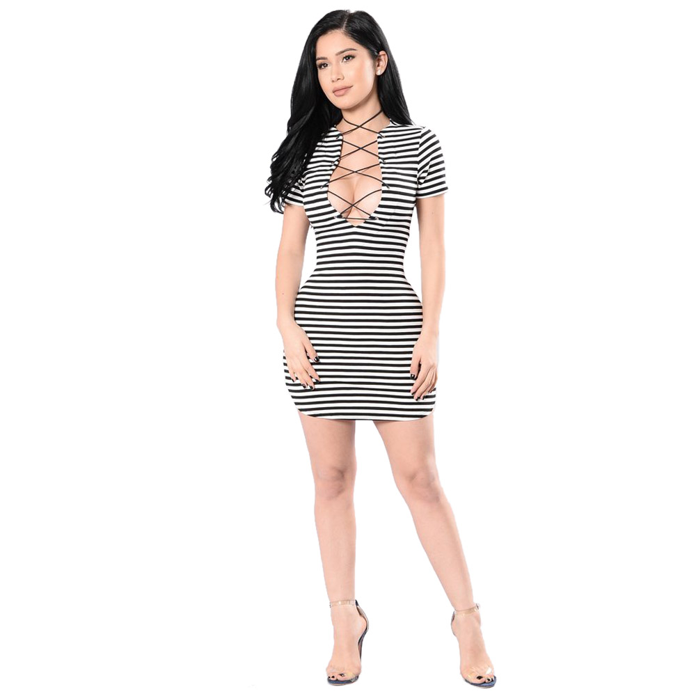 Free Shipping Short Sleeve Striped Women Mini Dress Hollow Out Sexy Club Fashion Summer Dress