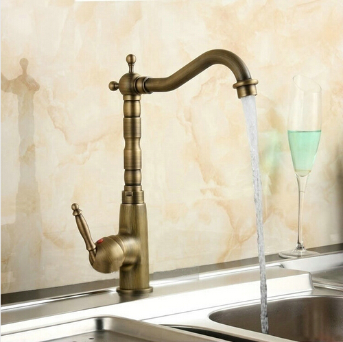 Kitchen Faucets Swivel Mixer Taps Antique Brass Hot and Cold Deck Mounted with ceramic torneiras para