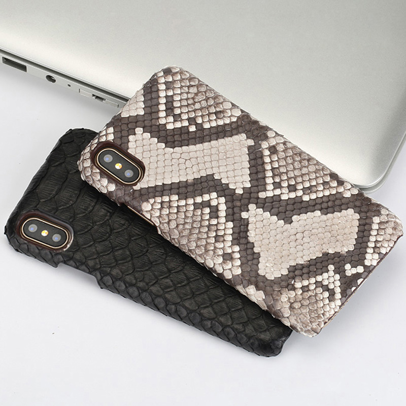 Genuine Leather Natural python skin protective case for iPhone 7 case 6 6S 8 8plus X XS XSMax XR Anti fall Ultra thin phone case in Fitted Cases from Cellphones Telecommunications