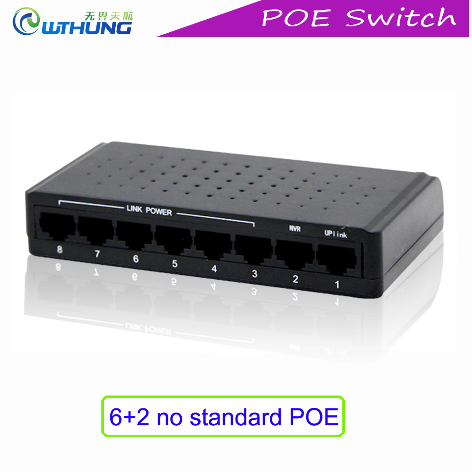 Poe Switch Desktop 8Port IEEE802.3x 100M gigabit Power Over Ethernet Input 12-55V output 60W Rj45 Uplink for CCTV IP Camera