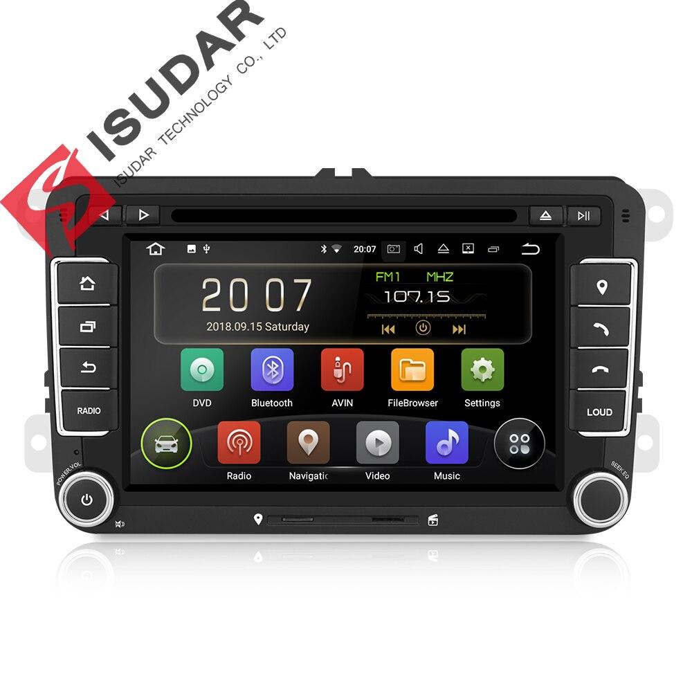 Isudar coche reproductor Multimedia Android 8,1 2 Din DVD del coche para Volkswagen/VW/POLO/PASSAT Golf/ /Skoda/Octavia/asiento/Leon GPS Radio DSP