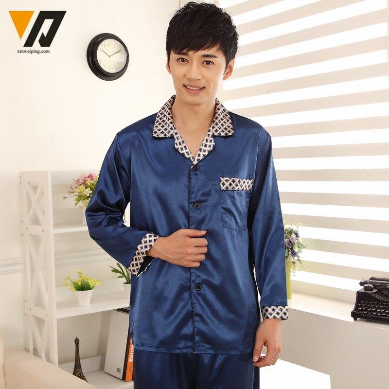 XMWEIPING Long Sleeves Mens Silk Pajamas Sets Loungewear Spring Pyjamas Set  Onesie Nightwear Blue Pijama Hombre Verano-in Men s Pajama Sets from  Underwear ... 6fb429573