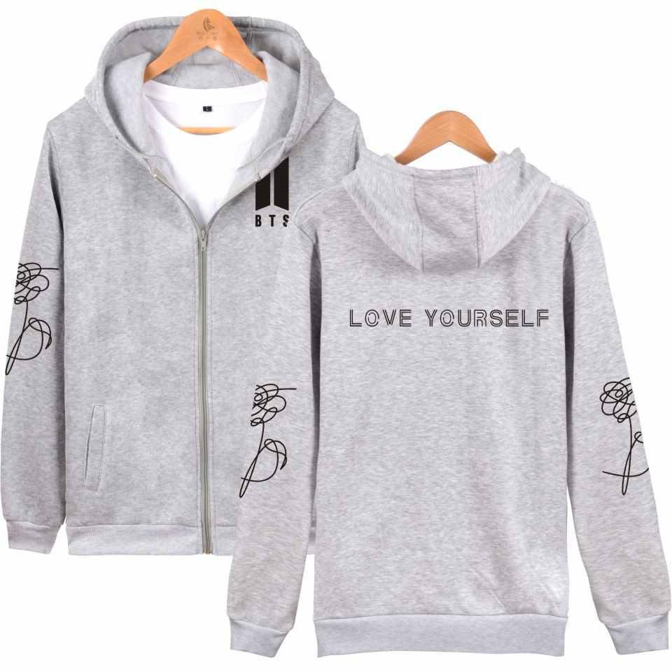 53ac8d41a577 BTS LOVE YOURSELF толстовки на молнии Толстовка популярная комбинация  осень-зима модные ...