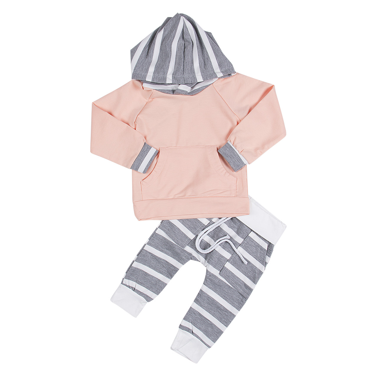 2017 Hot Sale Cute Kids Baby Girls Boy clothes Set Fashion Spring Autumn Hooded Tops Sweatshirt+Striped Pants 2pcs Outfits