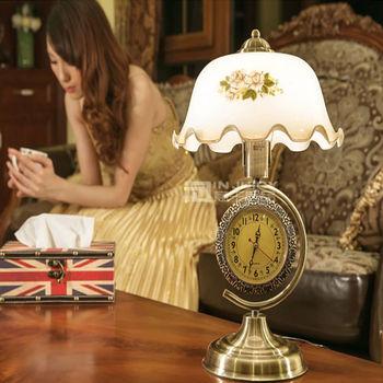 Amerikanischen Vintage Romantik E27 Basis Led Schreibtisch Lampe Schlafzimmer Eisen Glas Edison-lampen Tisch Licht Mit Uhr Cafe Bar Stehen Tisch Lampe