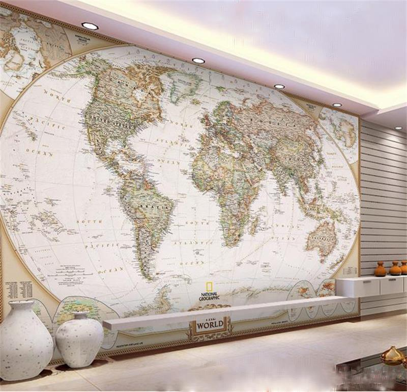 3d room wallpaper custom photo mural non-woven wallpaper Geographic World Map painting TV background wall wallpaper for walls 3d one button design longline woolen coat