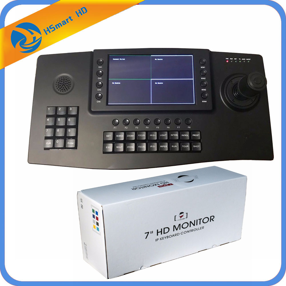 CCTV 4D Keyboard Controller Joystick 7 TFT LCD 4ch Display for IP PTZ Camera RS485 USB HDMI output Onvif