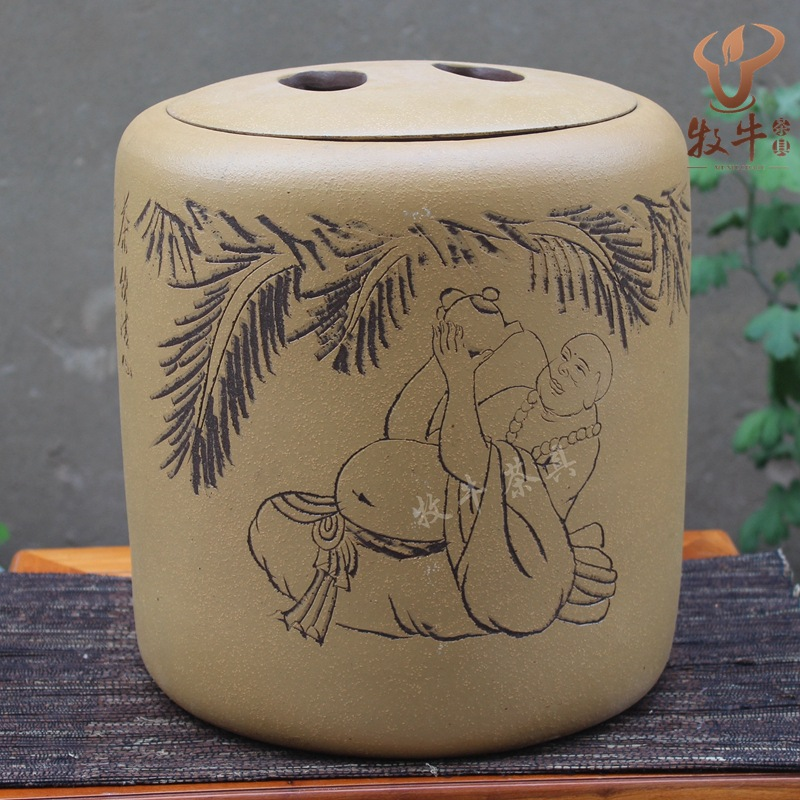 The direct origin of Yixing Yixing tea wholesale high hand carved pattern store tank mixed batch yixing zisha tea caddy authentic fine workmanship high grade tea pot square box mixed batch