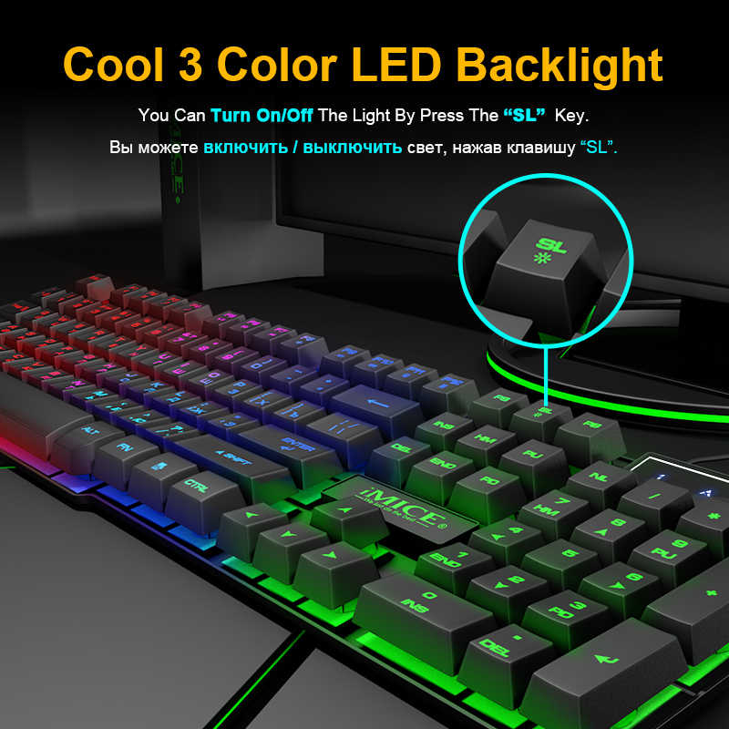 Gaming Keyboard Russian Keyboard 104 Keycaps Wired RGB Backlit Keyboard  Computer Gamer Keyboard Ergonomic For Laptop DOTA