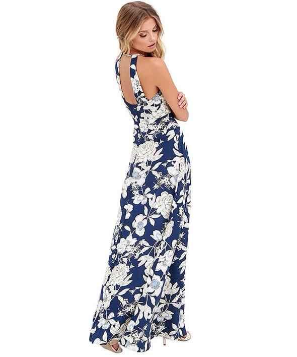 Для женщин макси с цветочным принтом платье с длинным Boho повод повязку на Разделение Лето Пляжные наряды сексуальный спинки Сарафан Vestidos