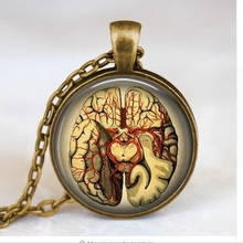 Free shipping Steampunk Jewelry Anatomical brain necklace pendant Gothic necklace science pendant biology medical student A-024