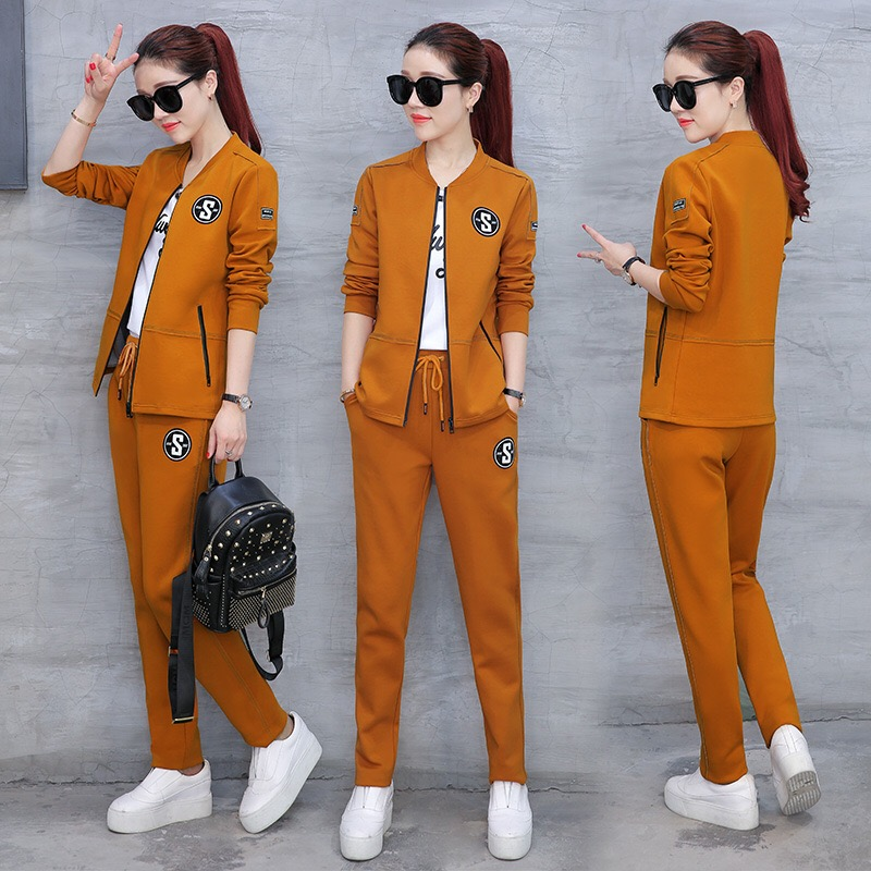 2019 Fashion Women s high quality New Spring Autumn Loose Casual Suit With T shirt Three
