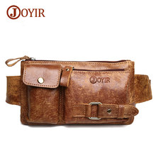 Joyir Genuine Leather Waist Packs Belt Bag Phone Pouch Bags Travel Waist Pack Male Small Waist