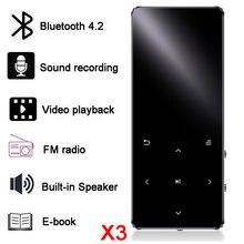 Odtwarzacz MP3 z głośnikiem bluetooth klawisze dotykowe hi fi radio fm mini USB mp3 sport MP 3 odtwarzacz muzyczny HiFi przenośny metalowy walkman 16G