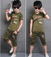 New 2014 Summer Girls Boys Clothing Set Kids Children Sports Suit Wear Outfits T Shirts Harem