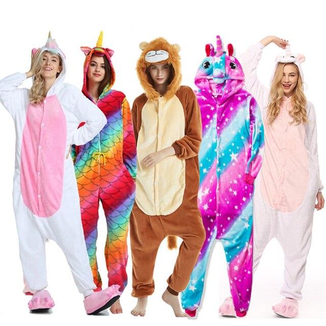 מבוגרים בעלי החיים Kigurumi פיג 'מה סטי הלבשת קוספליי רוכסן נשים גברים חורף יוניסקס unicornio תפר קריקטורה Unicorn פיג' מה