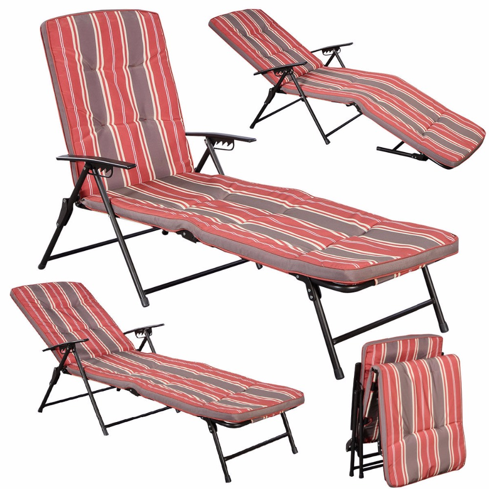 N red white stripe folding lounger patio patio outdoor - Folding outdoor chaise lounge ...