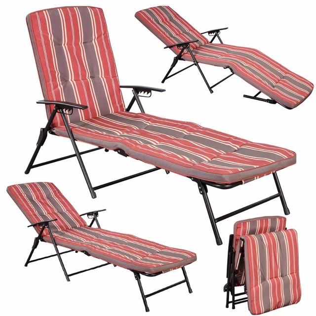 Vermelho Listra Branca Almofadas Chaise Espreguiçadeira Dobrável Pátio Ao Ar Livre Ao Lado Da Piscina Reclinar HW51794