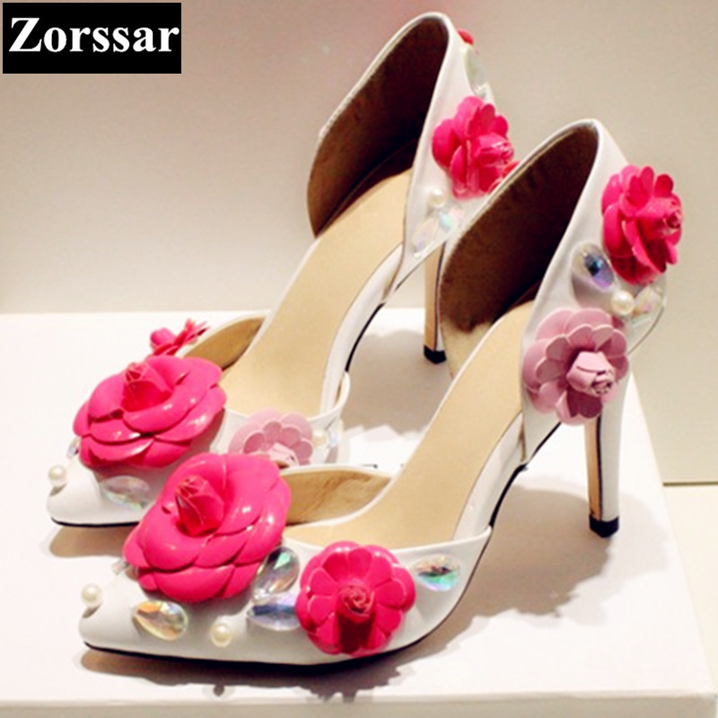 Summer shoes woman High heels sandals women Wedding shoes 2017 New Fashion Sweet flowers womens pumps pointed toe women heels plus size 2017 new summer suede women shoes pointed toe high heels sandals woman work shoes fashion flowers womens heels pumps