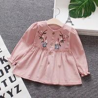 Long sleeve dress baby girl kids embroidery v neck puff sleeve 100% cotton cute autumn kid baby girls dress 2018
