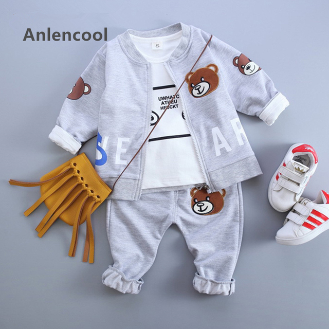 Anlencool Baby Boy Clothes  Autumn Baby Clothing Sets Litter Bear Embroidery Jackets+T-shirt+Bear Print Pants 3Pcs Suits